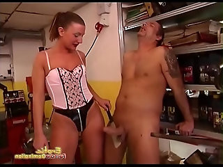 Dominatrix Threatens Male Slave With A Kitchen Knife To His Throat
