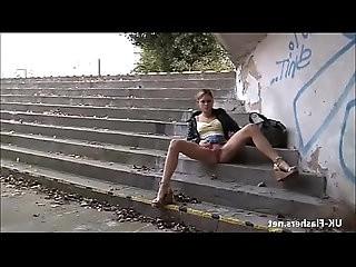 Blonde flashing Binas public nudity and teen babes voyeur masturba