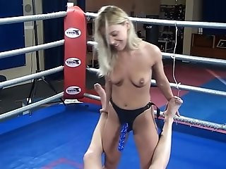 Nikky Thorne vs. Peter nude erotic mixed wrestling humiliation strapon
