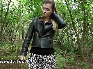 Pretty blonde milf fucks till facial outdoor