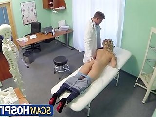 Sexy blonde sucks and fucks the pervy doctors cock
