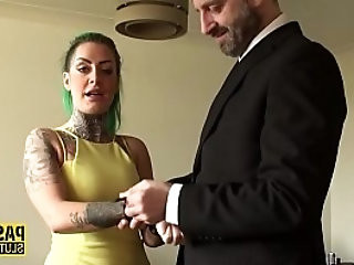 Tied and blindfolded tattooed submissive