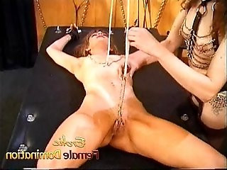 Slutty bitch gets tied down and has her pussy pleasured with toys