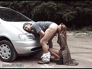 Some slut get horny milf ride by car