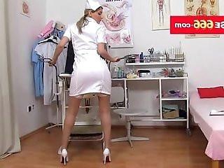 Hot brunette Katie Cox clothing sexy nurse uniform