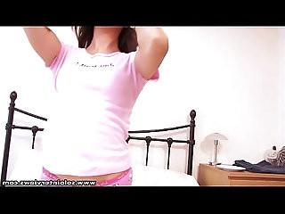SoloInterviews Smalltits babe Sofia Cortez striptease solo masturbation