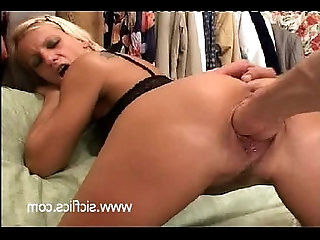 Trashy blond slut brutally fist fucked in her gaping destroyed cunt