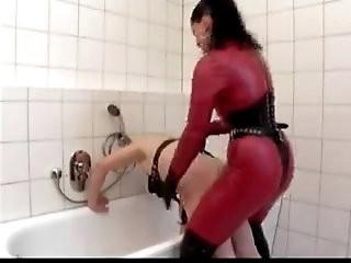 Poor slave fucked by German Dominatrix
