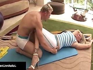 Julia Ann Bangs Yoga Instructor Gets A LOAD On Her Tits!