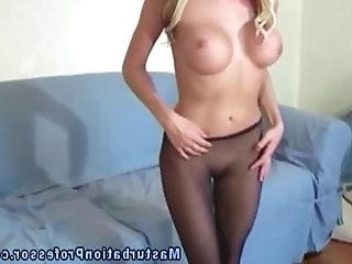 Nylon wearing big boobed babe teases