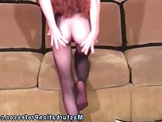 Ginger nylon stocking hottie teases you