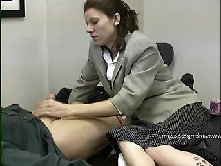 Lady boss demands for mans cum in four minutes