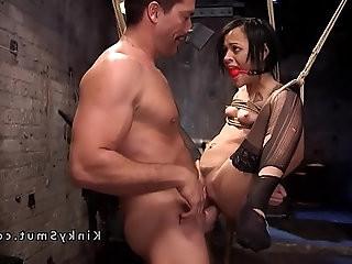 Slave suffers rough anal sex in bondage